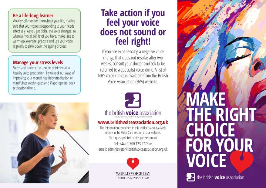 British Voice Association - World Voice Day 2020 - Make The Right Choice leaflet (outside)