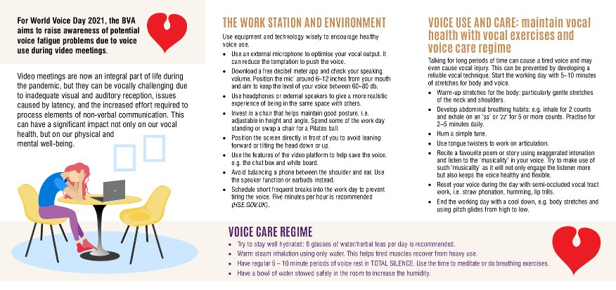 British Voice Association - World Voice Day 2021 - The Virtual Voice leaflet (inside)