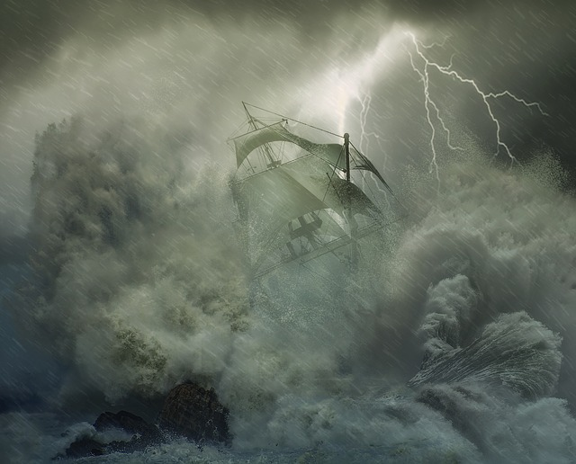 ship caught in a tempest